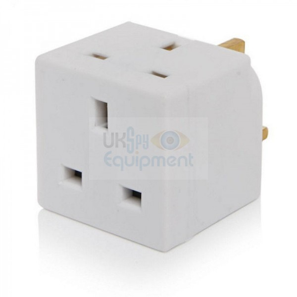 UK mains adapter complete with GSM bugging device and sound activated text message alert