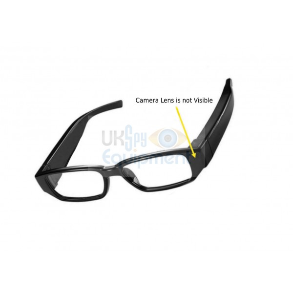 Glasses with covertly non visible hidden camera recording capability